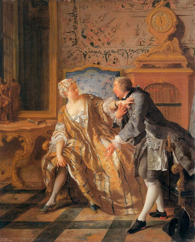 The Garter by de Troy.  A nobleman and his noble mistress are engaged in a heated discussion about her slipped garter.