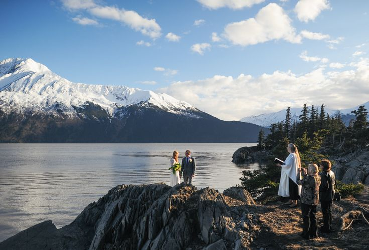 Snow-Covered Mountain Backdrop Ceremony Venue