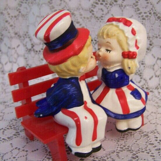 Salt Amp Pepper Shakers Vintage Kissing Patriotic Boy And