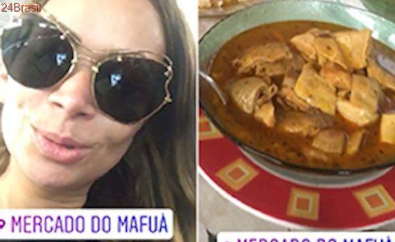 Em Teresina, Solange Almeida come panelada no Mercado do Mafuá; foto