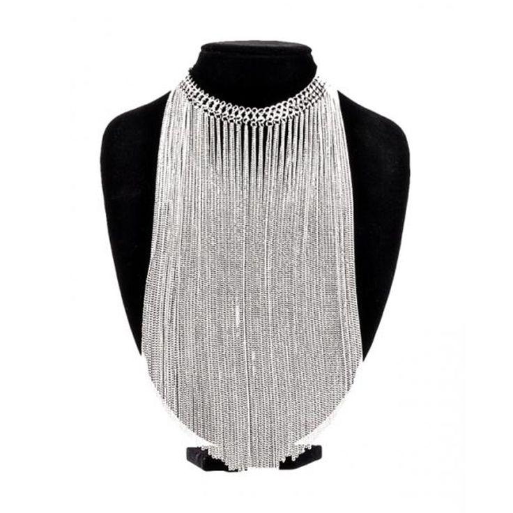 Zilveren ketting met lange kettingen - Gothic Metal Glamrock