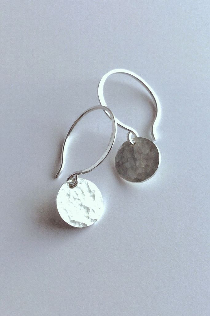 Small Hammered Silver Earrings / Miniamalist Everyday Jewelry / Round Hand Hammered Sterling Drops