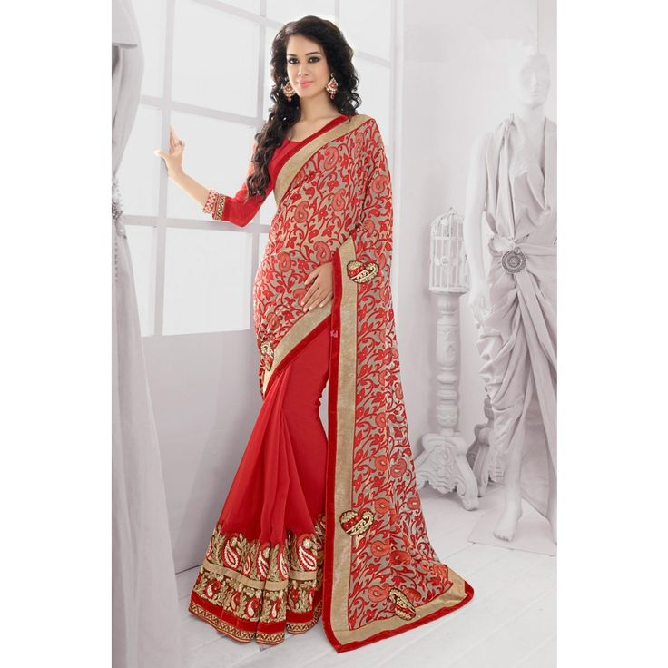 Red and Beige Georgette Wedding #Saree With Blouse- $77.37
