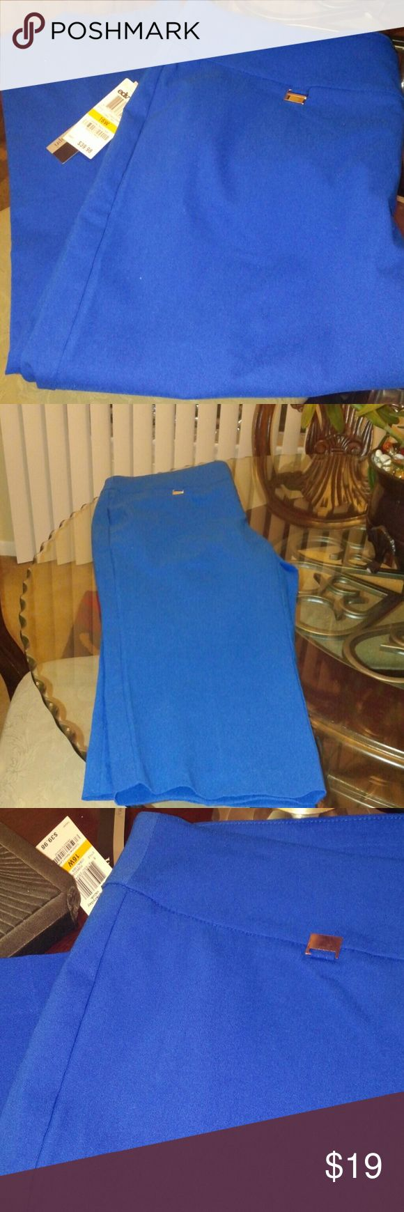 Alfani NWT Cobalt Blue Capri NWT Brilliant Blue Colored Pull-on Capri. Cute little silver detail on waist with wide waist band Alfani Pants Capris
