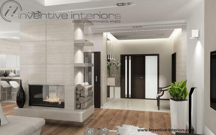 Projekt salonu Inventive Interiors - otwarty salon z dwustronnym kominkiem