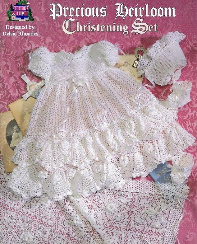 CROCHET PATTERN Christening Gown Outfit - Baby dress blanket and ...