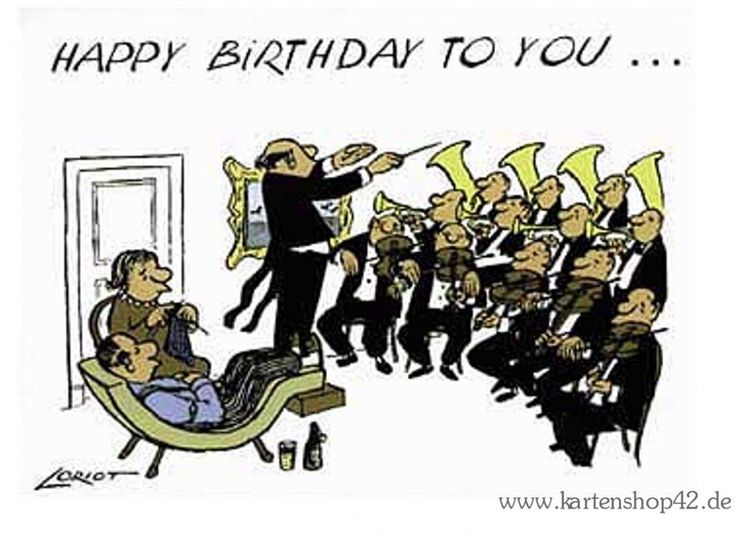 HAPPY BIRTHDAY TO YOU -Orchester - Hausmusik - Loriot - Geburtstags-Postkarte