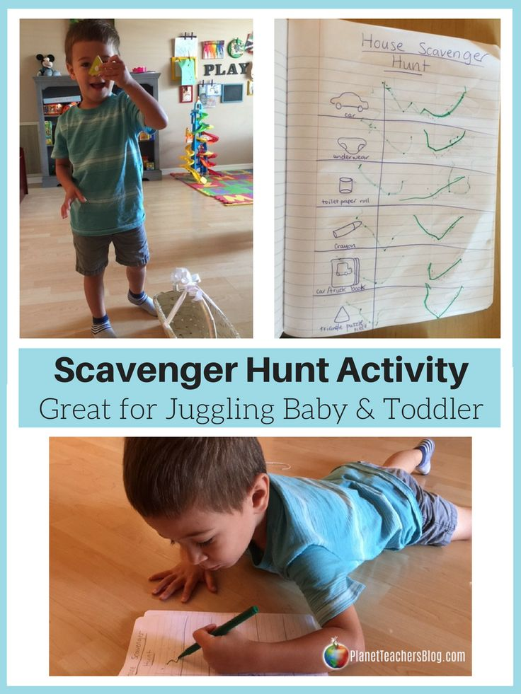 Scavenger Hunt- toddler activities indoors. Great for juggling toddler and baby too! Scavenger Hunt is easy to set up. Gets toddler moving, playing independently, practicing memory skills, and prewriting skills while giving mom time to entertain baby too. Great busy activity for toddlers.