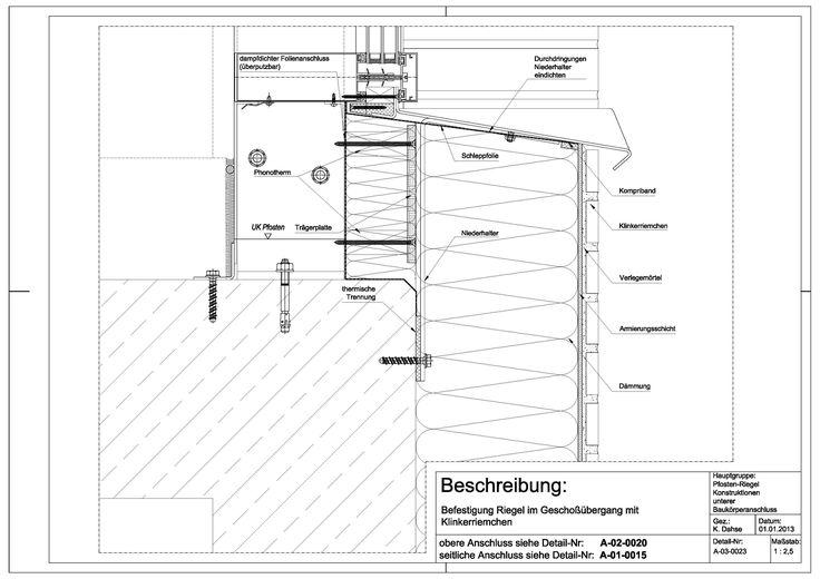 A-03-0023 Befestigung Riegel im Geschossübergang mit Klinkerriemchen