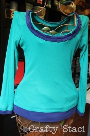 Long Sleeved Shirt Refashion - Crafty Staci 1 - This would be great to do with my daughter's shirts!