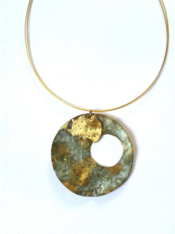 Handmade, phases of the moon oxidised brass pendant in green mint patina