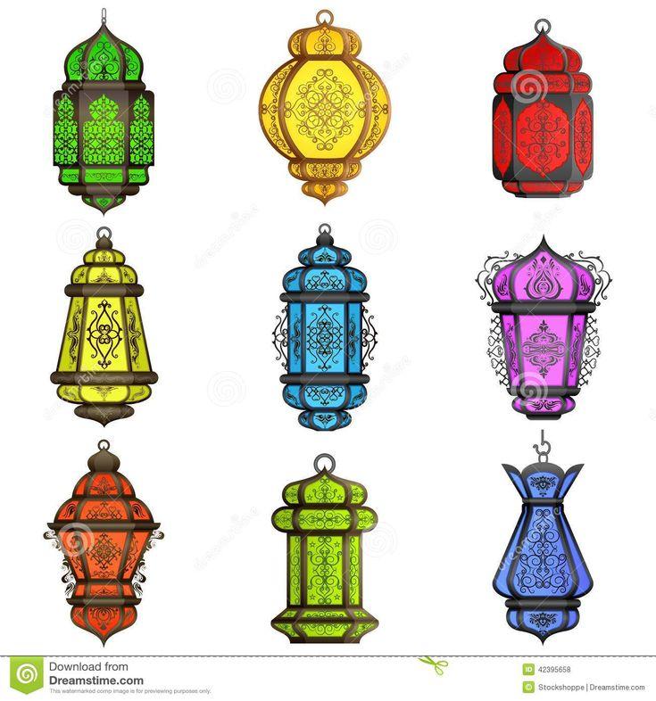 Colorful arabic lamp lantern illustration moroccan