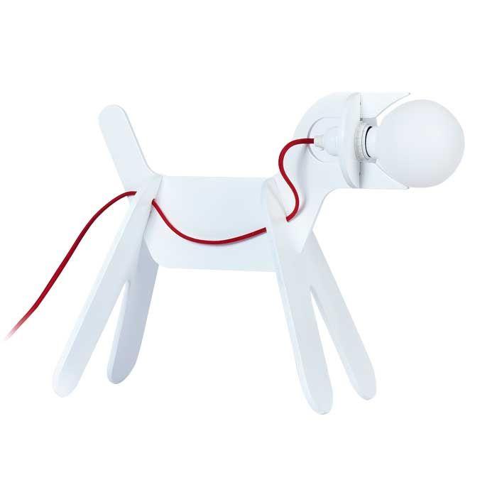 GET OUT DOG - Lampada da tavolo bianca