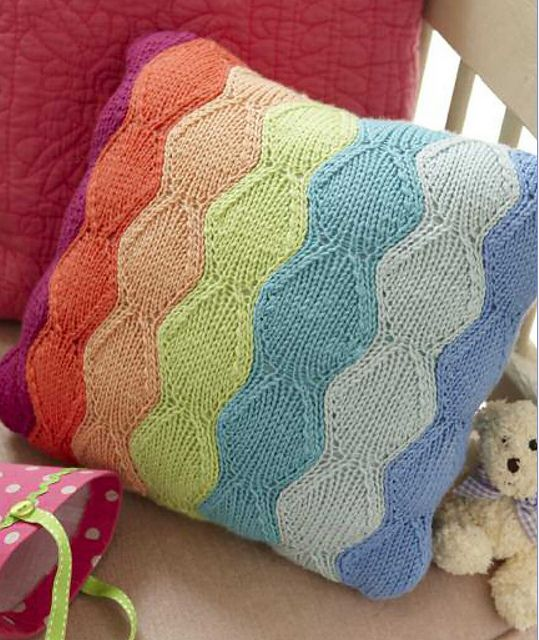 Rainbow Cushion Knitting Pattern : 40 best images about Knitting: Poufs on Pinterest