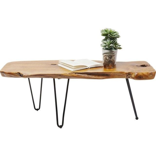 Table Basse Aspen 100x40cm Nature Rustic Tabletop Coffee Table Table