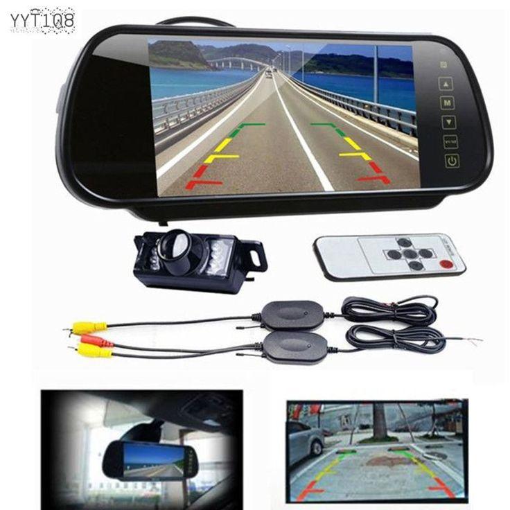 7 LCD Mirror Monitor + Wireless Car Reverse Rear View Backup Camera Night Vision…