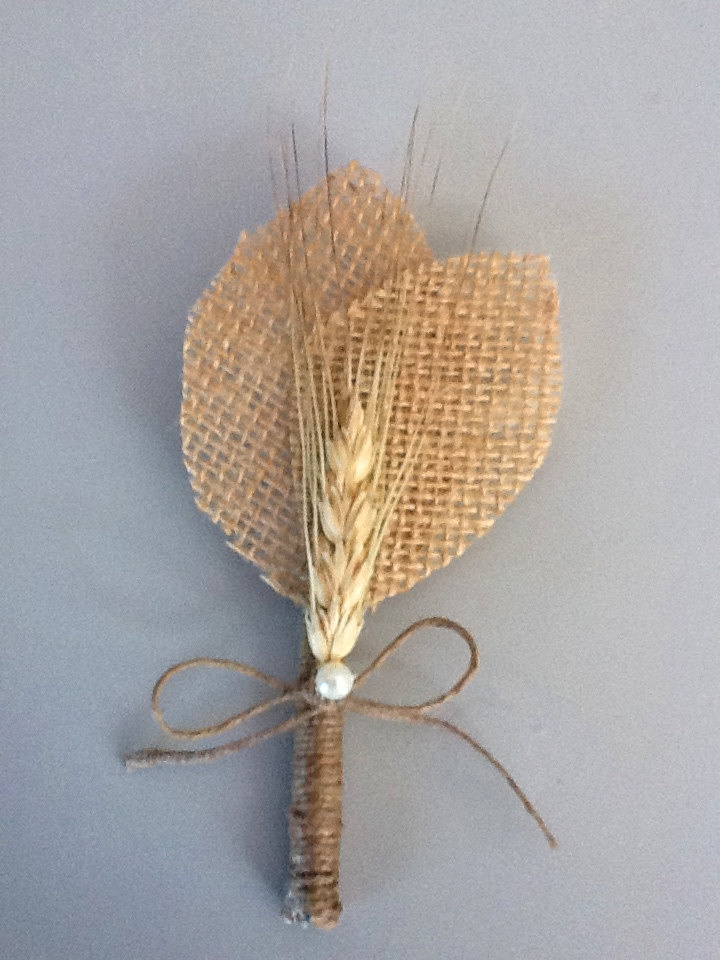 Rustic Boutonniere - Boutineer- Shabby Chic - Rustic Wedding - Burlap and Wheat. $10.00, via Etsy.