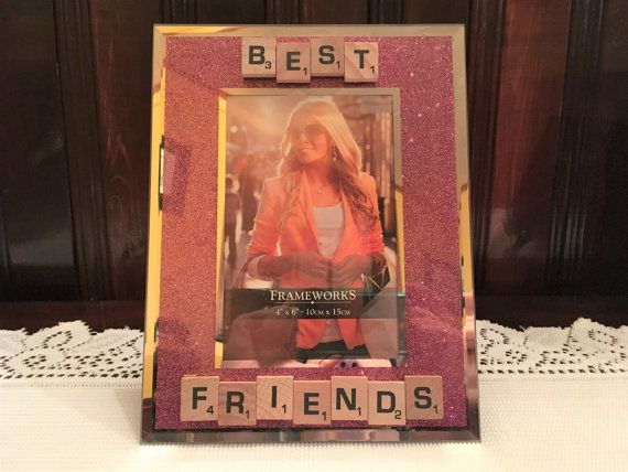 Sparkly Pink Picture Frame with Scrabble Tile by AdorablySBoutique