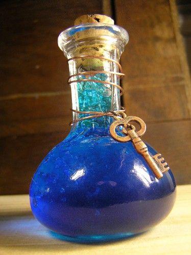 Cerulean Elixir  Blue Potion in Glass Bottle