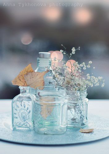 Pretty blue ~  just add tea lights/candles/votives for pretty table decor