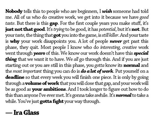 Article on Creativity and Self-Doubt, from the Streaming Color blog; image is a quote from Ira Glass on having a creative career.