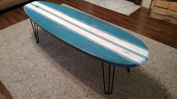 Surfboard Coffee Table Wooden Weathered Surfboard Table Surf Furniture