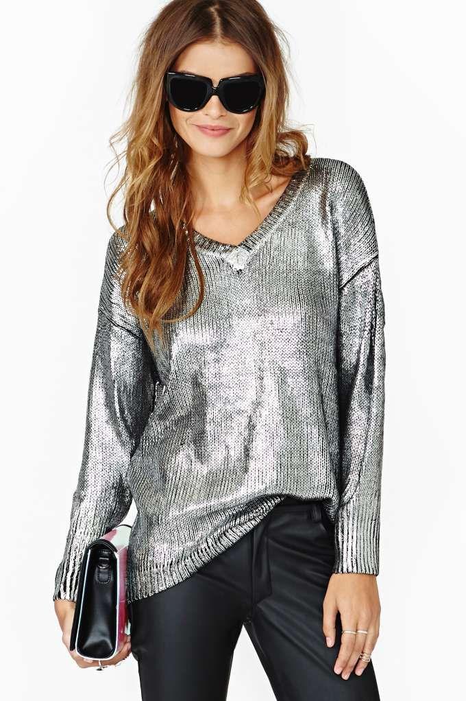 Elan Metal Coated Sweater | Shop Clothes-Tops at Nasty Gal