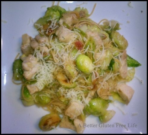 ... WITH BACON, BRUSSEL SPROUTS & ONIONS IN A BROWN BUTTER SAGE SAUCE