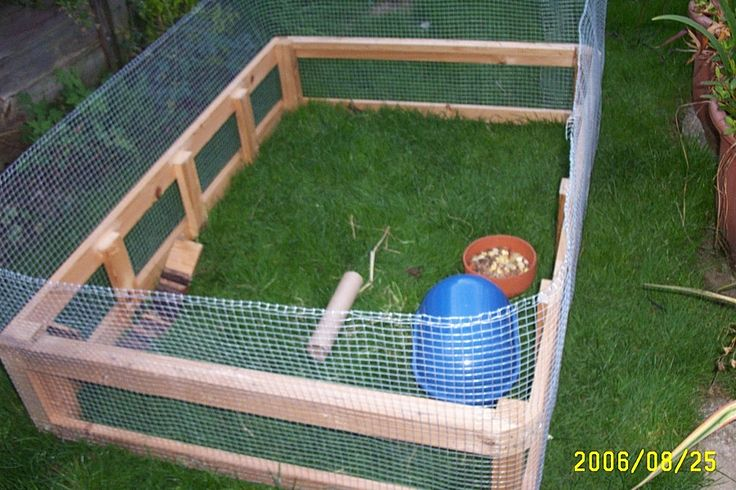 Making a cheap Run for rabbits or guinea pigs , Take an old divan bed base strp it and cover in mesh.