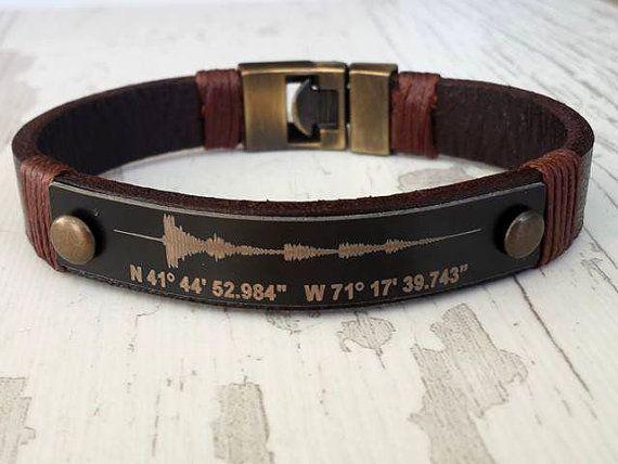 Soundwave Bracelet Coordinate Bracelet for Him Personalized #etsy #etsyseller #etsyhandmade #necklace #leather #cuff #fashion #giftidea