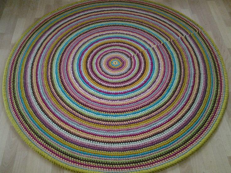Large crochet round rug, 59'' (150 cm)/Crochet Rug/Rugs/Rug/Area Rugs/Floor Rugs/Large Rugs/Handmade Rug/Carpet/Wool Rug by AnuszkaDesign on Etsy