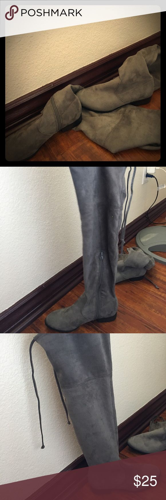 I have worn these twice and they are super comfy. Grey knee high boots Shoes Over the Knee Boots