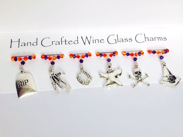 Halloween Wine Glass Charms - Ghosts & Ghouls - Halloween Party - Halloween Gifts by Makewithlovecrafts on Etsy