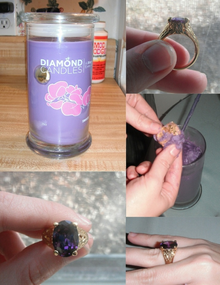 My Diamond Candle :) Diamond Candles are natural soy candles with a hidden ring inside worth $10, $100, $1000, or $5000!!!!