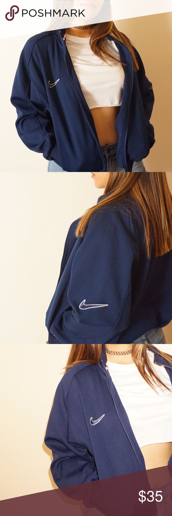 Vintage Nike Jacket Navy blue VINTAGE Nike Jacket! In beautiful condition! Nike Jackets & Coats