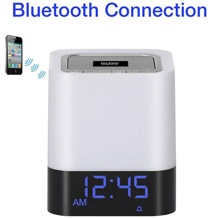 Boytone BT-84CB Portable FM Radio Alarm Clock Wireless Bluetooth 4.1 Speaker, 3-Way