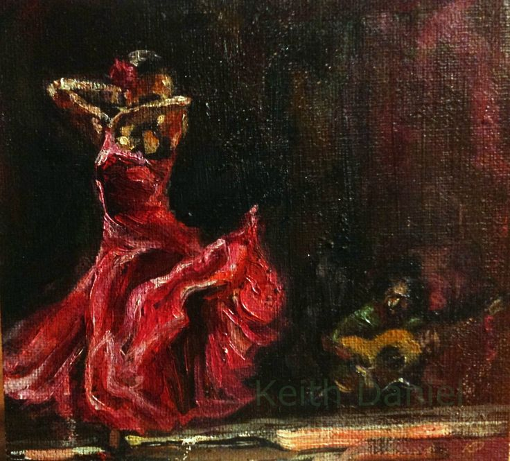 Dancer, Flamenco chufla- original  oil painting by KeithDanielart on Etsy
