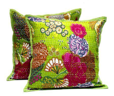 (sku no:Kantha Cushion Cover_1) 2 Green Home Décor Handmade Pillowcase Indian Traditional Kantha Stitch Pillow Cushion Covers