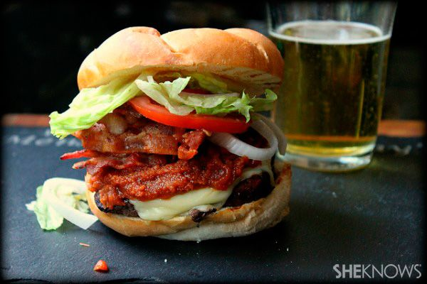 Bacon cheeseburger with peanut butter Sriracha ketchup - yep, that's right...and it's delicious!