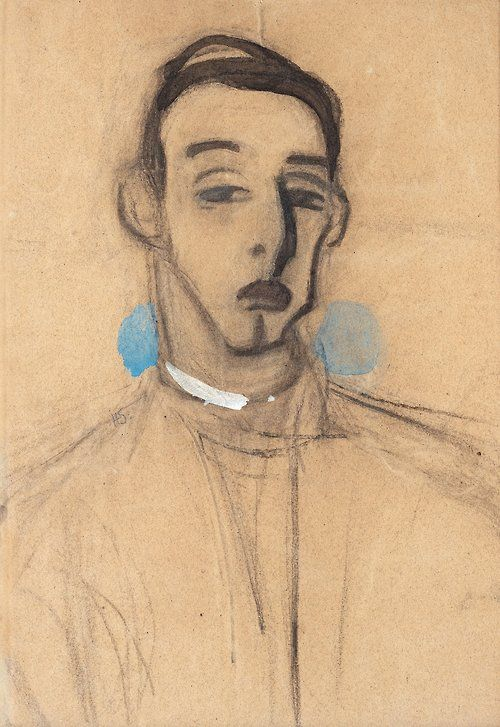 Helene Schjerfbeck (Finnish, 1862-1946), Måns Schjerfbeck (L'automobiliste). Watercolour and charcoal on paper, 51 x 36cm.