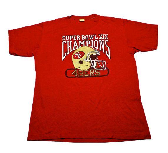 Vintage 1980s 80s 1985 Logo 7 San Francisco Forty Niners 49ers Super Bowl XIX Champions Shirt Mens Sportswear Size Large