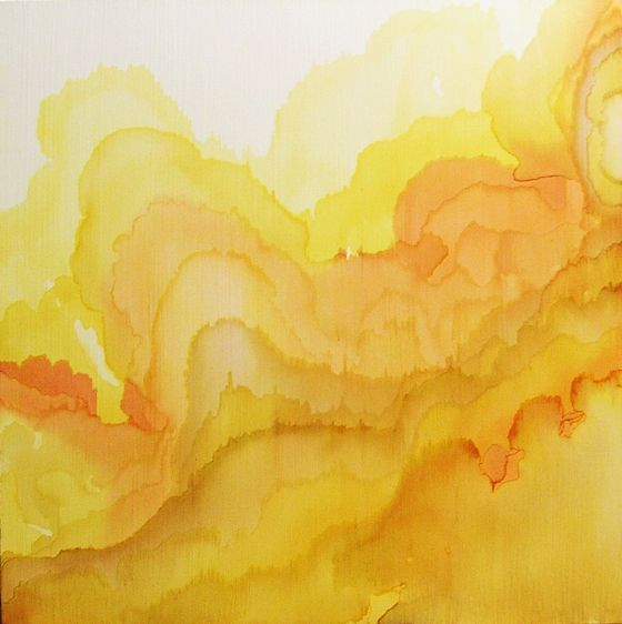 Beautiful yellow watercolor waves by Tobias Tovera. There's a quality to watercolor that really can't be replicated.