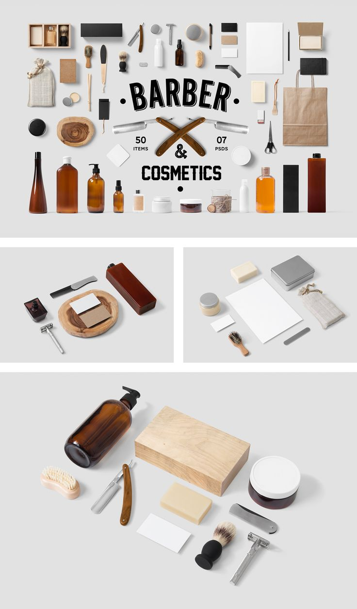 Barber Cosmetics Mock-Up / 11 PSD / 50 Items - forgraphic™