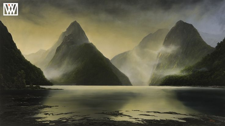 Milford Impression New Zealand painter Wayne Vickers Original http://waynevickers.com/gallery