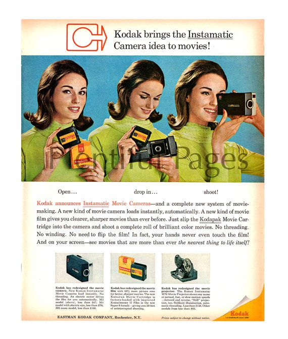 1965 Kodak Instamatic Camera Ad, 1960's Camera, 1960's Photography, 1960's Lady, 1960's Fashion, Retro Ad, Great for Framing or Collage.