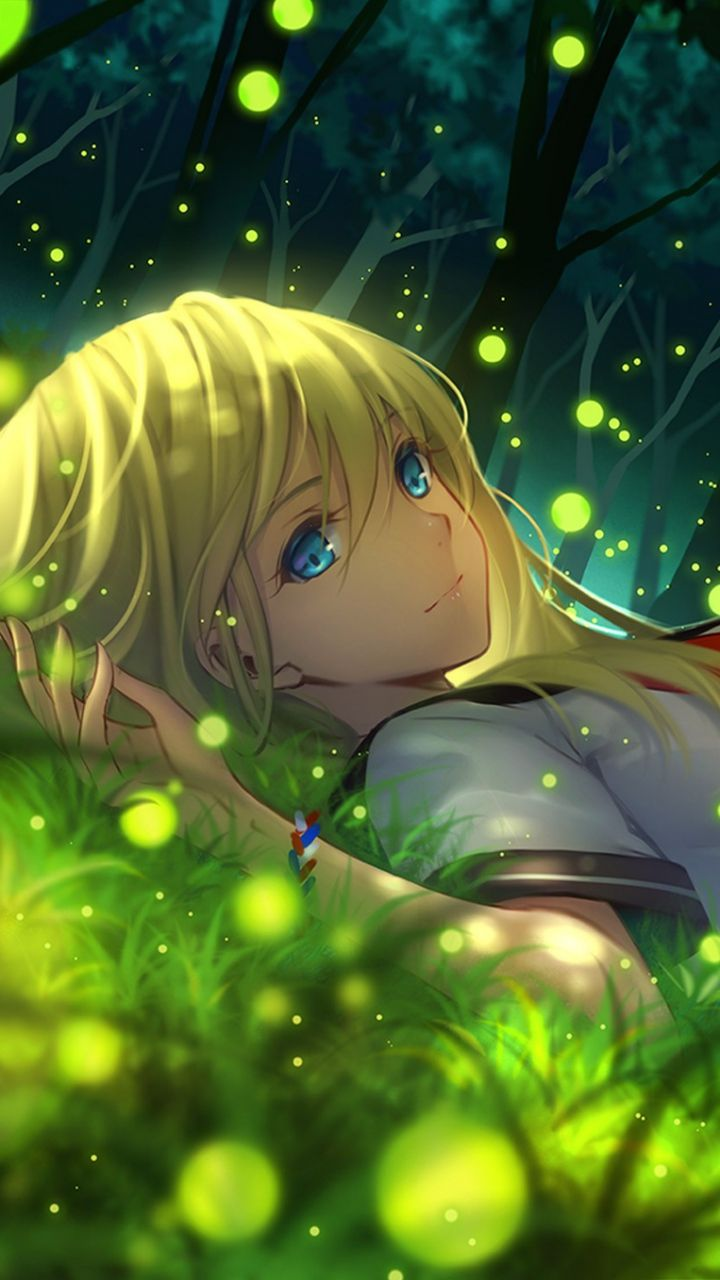 Anime girl wow I didn't know fire flies were little glowing circles XD it's still cool though