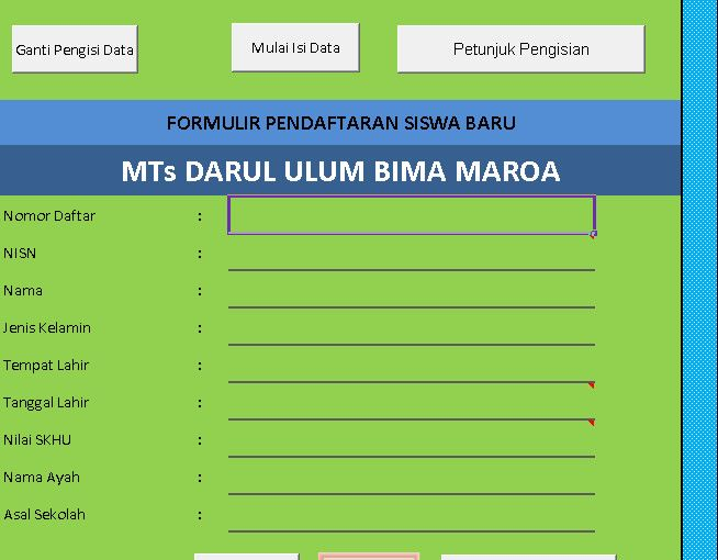 [.xls otomatis] Software PPDB MTs Aplikasi Excel Free Download