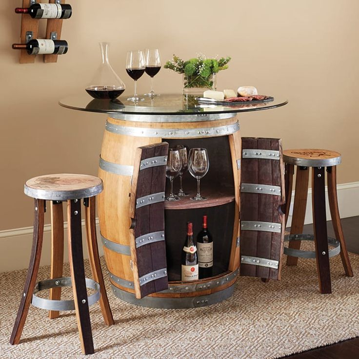 Wine Barrel Pub Table & 2 Pub Stools Set (174407) | IWA Wine Accessories