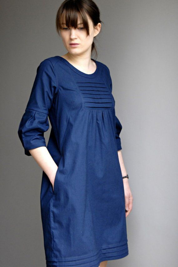 SAMPLE SALE Martha Day Dress in Navy by Sempster on Etsy, $148.00