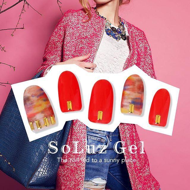 親指と薬指はホワイトベースに細筆でランダムにマスカレード、セージ、オレンジレッド、サンシャインを細筆で少しかすれるように塗って。 他の指はオレンジレッドを3度塗り。  #ソルースジェル #soluzgel #ジェルネイル #セルフネイル #セルフジェルネイル #シンプルネイル #ジェルネイルキット #春ネイル #赤ネイル #newnails #nail #nail #ポリッシュジェル #ジェルポリッシュ #うるツヤネイルsoluzgel_official